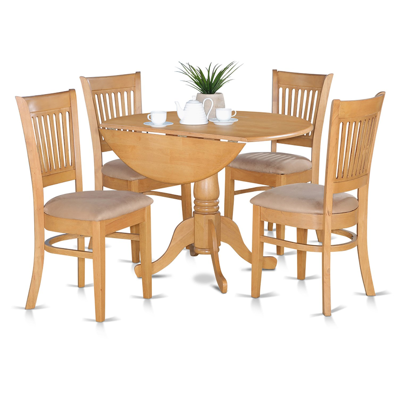 East West Furniture DLVA5-OAK-C 5-Piece Kitchen Table Set, Oak Finish, Microfiber Upholstered Seat, by East West Furniture