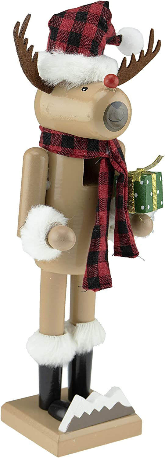 Clever Creations Red Nosed Reindeer 14 Inch Traditional Wooden Nutcracker, Festive Christmas Décor for Shelves and Tables