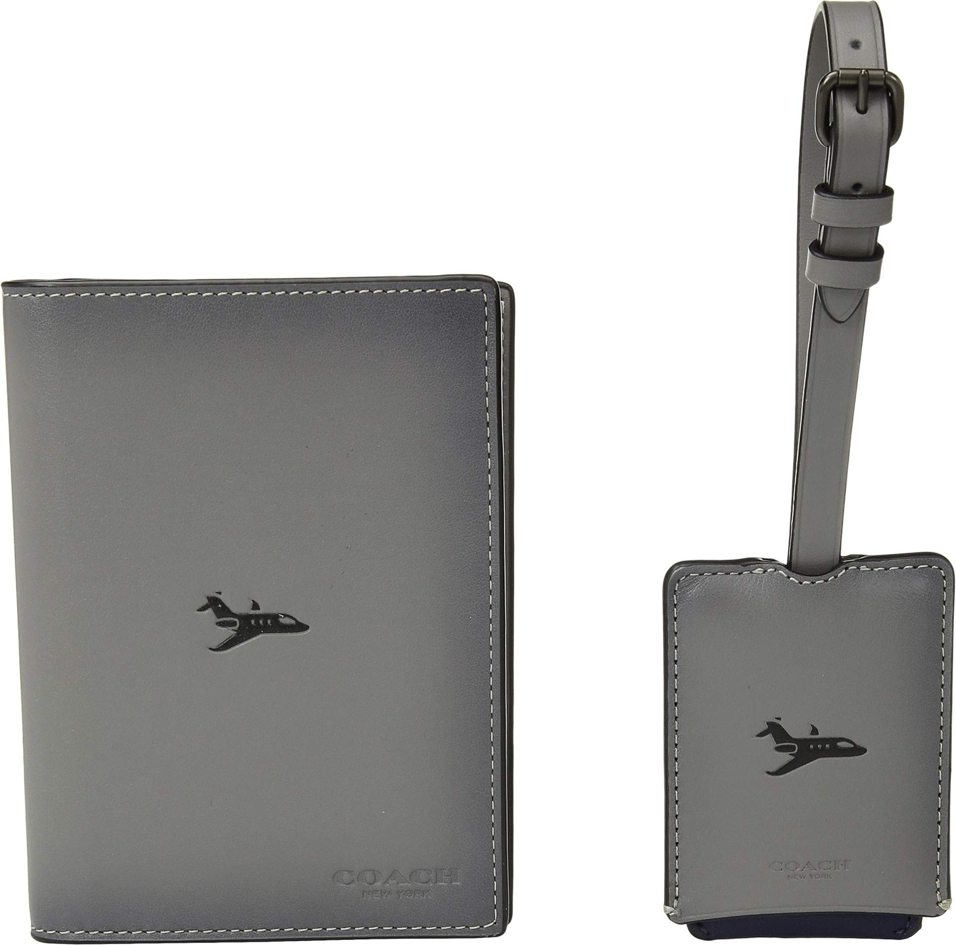 COACH Men's Boxed Passport Case and Luggage Tag Featuring Motif Grey One Size
