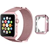 Apple Watch Band 42mm, UMTELE Milanese Stainless Steel Replacement Strap with Unique Sliding Magnetic Closure for Apple Watch Series 2, Series 1, Rose Gold