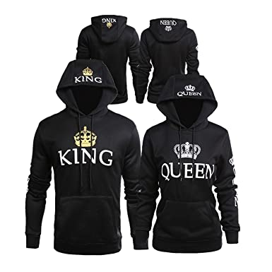 886dc36fa4 Bangerdei Matching Couple King and Queen His and Her Hooded Sweatshirt  Pullover Hoodies (Women S