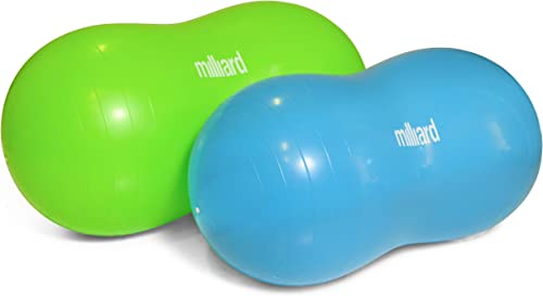 Milliard Peanut Ball Variety Pack - Approximate Sizes Green 39x20 inch 100x50cm and Blue 31x15 inch 80x40cm Physio Roll