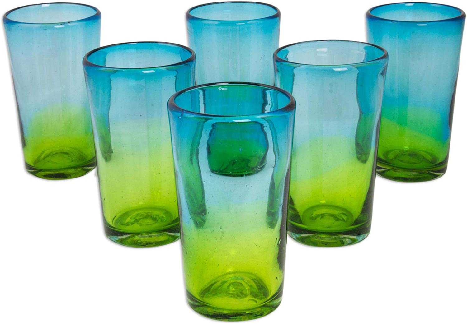 NOVICA Hand Blown Recycled Glass Blue And Green Ombre Highball Glasses, 15 Oz, Aurora Tapatia' (Set Of 6)