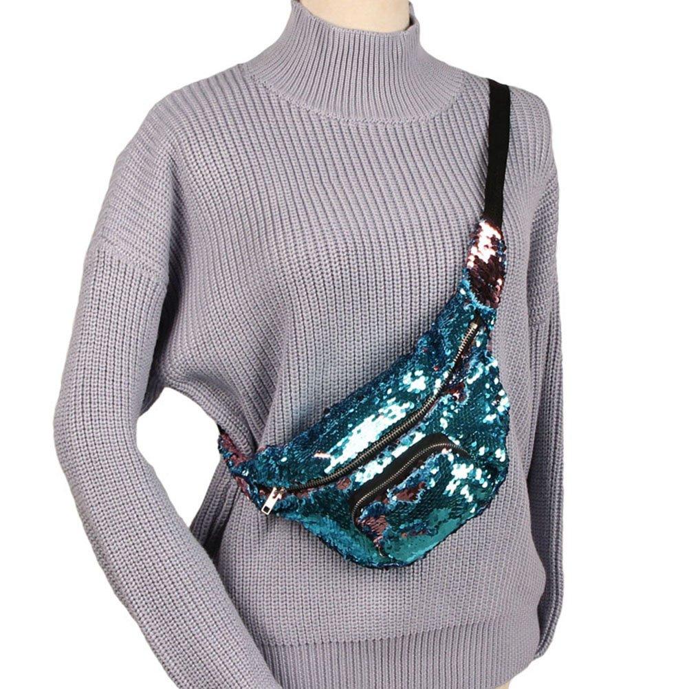 Lake Blue /& Pink Sequins Waist Bag Fanny Pack Bum Bag Sports Bag Shiny Bumbag Sparkle Waist Bag for Running Ridding