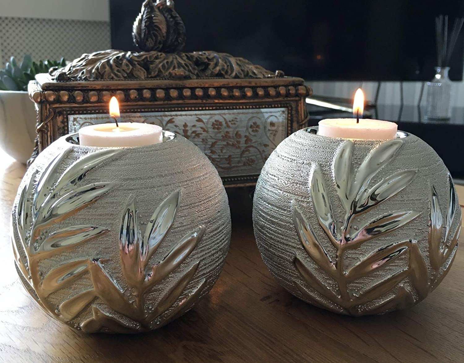 hdg Pair Of Ceramic Willow Tea Light Candle Holders Silver Decorative Sphere Ornament Home Decor Gift