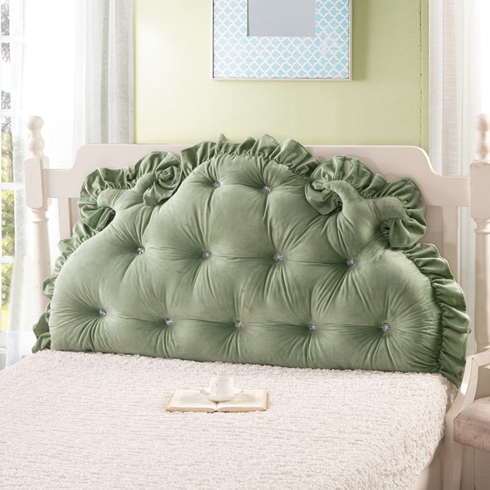Vercart Sofa Bed Large Upholstered Headboard Filled Triangular Wedge Cushion Bed Backrest Positioning Support Pillow Reading Pillow Office Lumbar Pad with Removable Cover Green 79x33 Inches