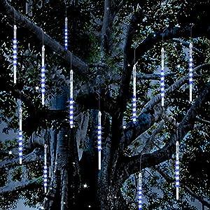 Vikdio Meteor Shower Rain Lights, 30cm 10 Spiral Tubes 300 LEDs Waterproof Icicle Drop Snow Falling String Lights for Wedding Christmas Garden Tree Home Decor, Support 3 Sets Hook Together (Blue)