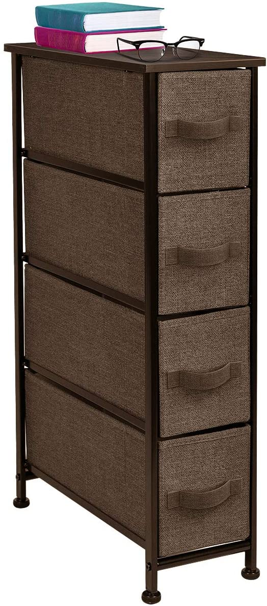 Sorbus Narrow Dresser Tower with 4 Drawers - Vertical Storage for Bedroom, Bathroom, Laundry, Closets, and More, Steel Frame, Wood Top, Easy Pull Fabric Bins (Brown)