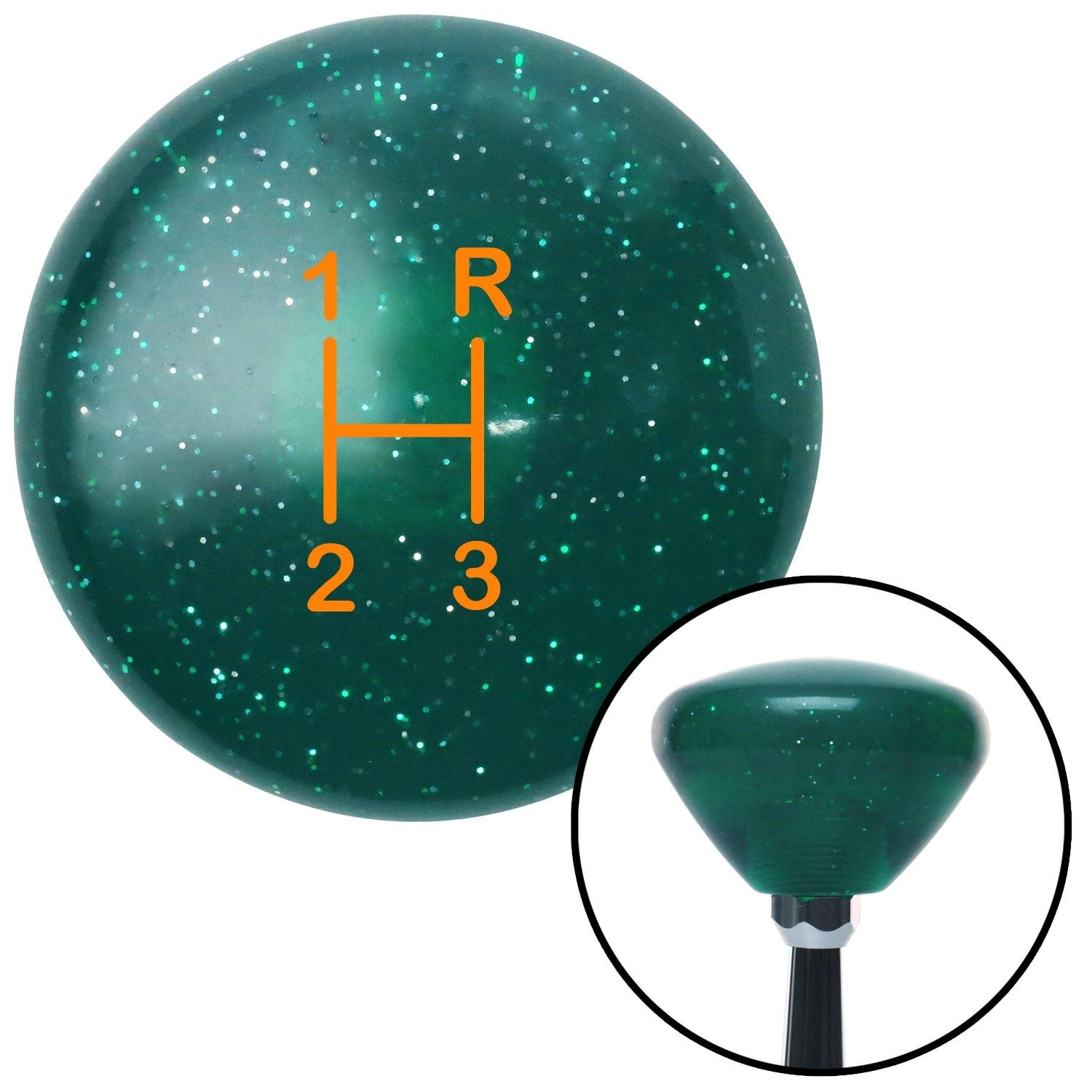 Orange Shift Pattern 10n American Shifter 208406 Green Retro Metal Flake Shift Knob with M16 x 1.5 Insert