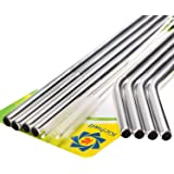 """Kichwit Extra Long Stainless Steel Straws Set of 8, Reusable Wide Straws for Smoothies, 10.5"""" Long, 5/16"""" Wide, Metal Drinking Straws for 30 oz Tumblers, 2 Free Cleaning Brushes Included"""