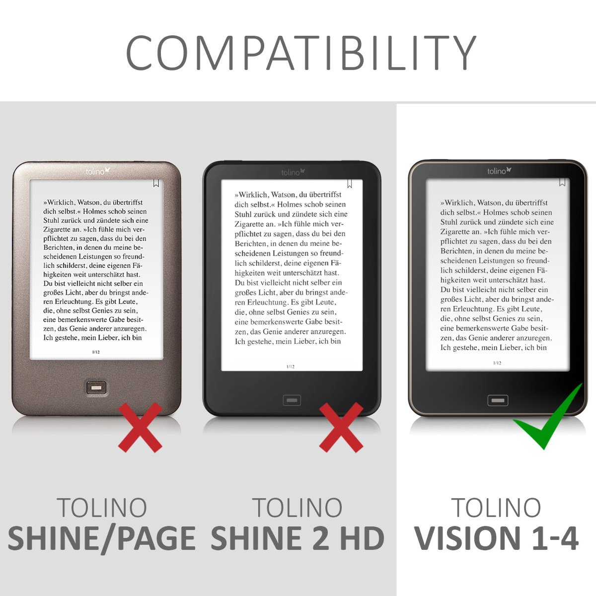 kwmobile Cover for Tolino Vision 1/2 / 3/4 HD - Case with Built-in Hand Strap and Stand in Black by kwmobile (Image #7)