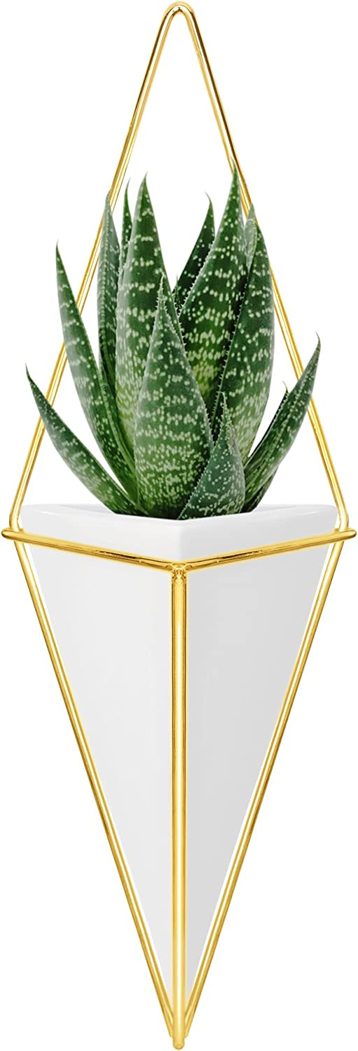 Nellam Ceramic Planter – Modern Geometric Hanging Wall Pot with Brass Frame – Large Mounted Decorative Vase Container for Indoor Plants Succulents – Potter for Flower, Herbs, Vegetable Planting