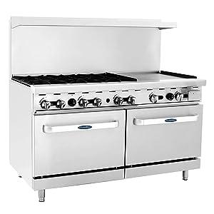 "CookRite Commercial ATO-6B24G Liquid Propane Range 6 Burner Hotplates with 24"" Manual Griddle 2 Standard Ovens 60'' Restaurant Range- 240,000 BTU"