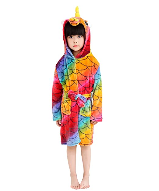 65dc68be2 Amazon.com  Little Girl s Coral Fleece Unicorn Hooded Bathrobe ...