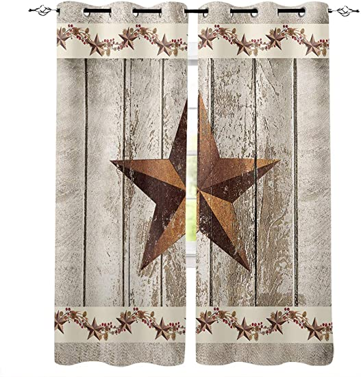 Fandim Fly Grommet Window Curtain Western Texas Star and Primitive Berries on Country Wooden Plank Window Curtains Draperies for Bedroom and Living Room 52 x 90 Inch, Set of 2 Panels