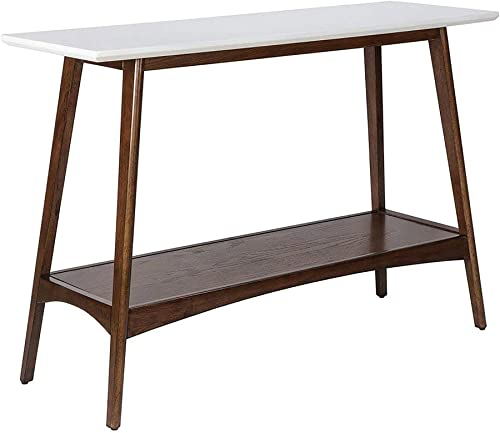 Madison Park Parker Console Tables – Solid Wood, Two-Tone Finish with Lower Storage Shelf Modern Mid-Century Accent Living Room Furniture, Medium, White Pecan