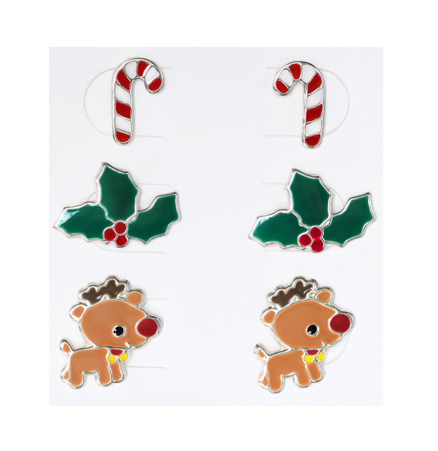 Best Wing Jewelry .925 Sterling Silver ''Christmas Set'' Children's Stud Earrings (3 Pairs)