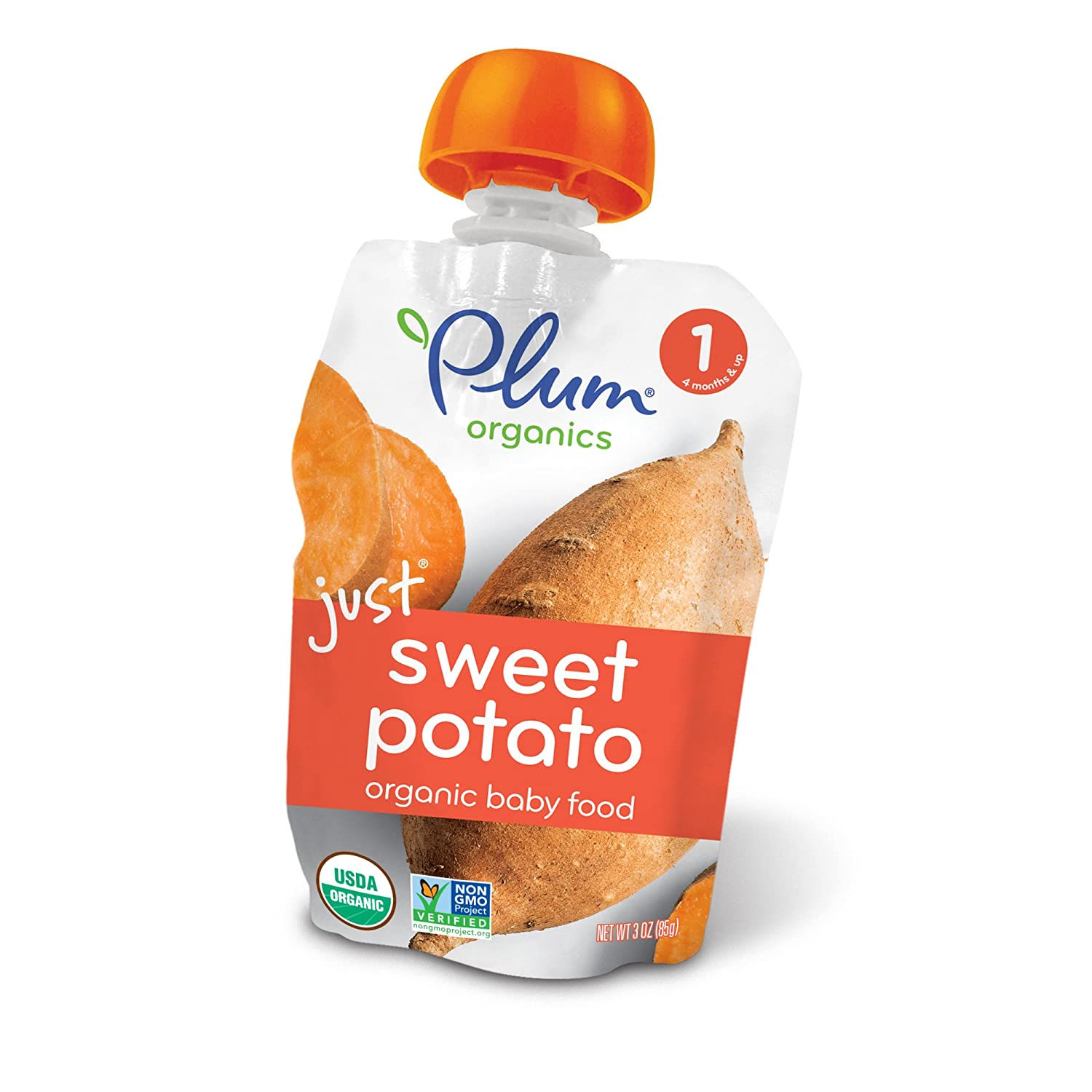Plum Organics Stage 1, Organic Baby Food, Just Sweet Potato, 3.0 ounce pouch (Pack of 12) Plum Organics Baby