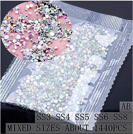 1440pcs Crystal AB Non Hotfix FlatBack Rhinestones Nail Art Decoration DIY