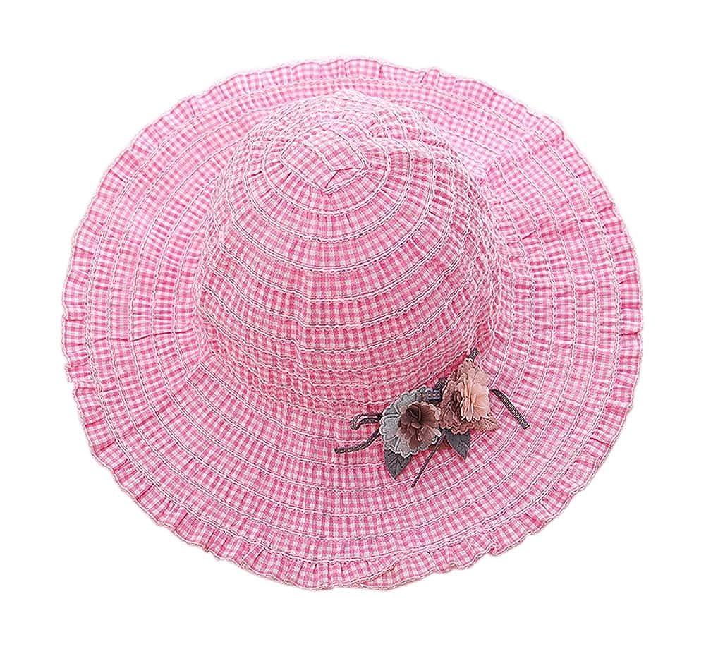 Gentle Meow Baby Girl Hat Sun Hat Summer Beach Hats Girls Big Hat 3-8 Year Old Pink