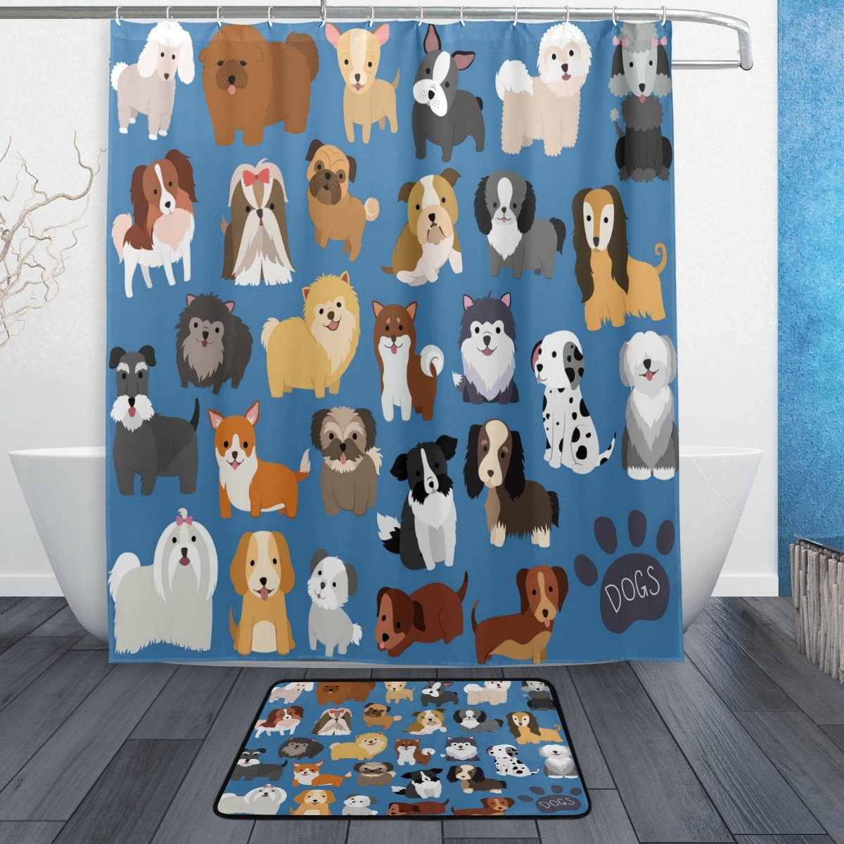 ALAZA Set of 2 Cute Animal Dog 60 X 72 Inches Shower Curtain and Mat Set, Lovely Puppy Dogs Waterproof Fabric Bathroom Curtain and Rug Set with Hooks by ALAZA