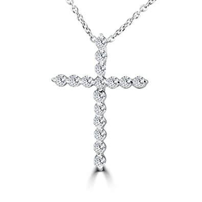 Amazon 38ct real diamond cross pendant white gold necklace 38ct real diamond cross pendant white gold necklace mozeypictures Gallery