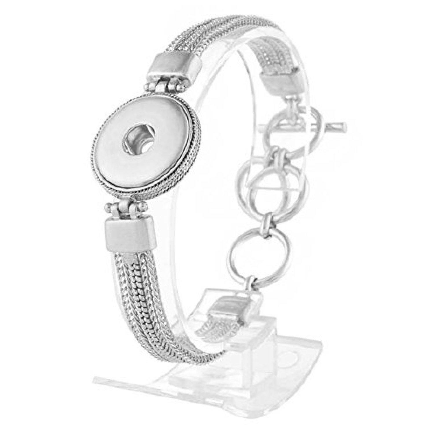 My Prime Gifts Snap Jewelry Toggle Silver Strand Bracelet Length 6.75-8.5 Holds 18-20mm Standard Snaps