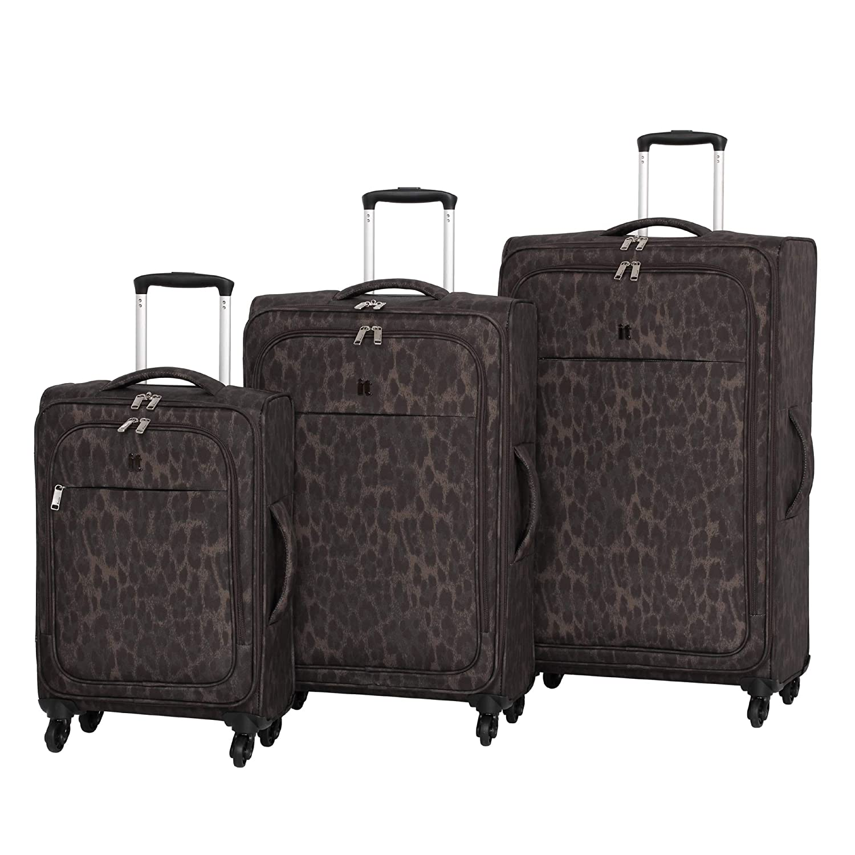 it luggage 3 Piece Set of Rosette 4 Wheel Lightweight Soft Suitcases Maleta 80 Centimeters 260 Leopard Print