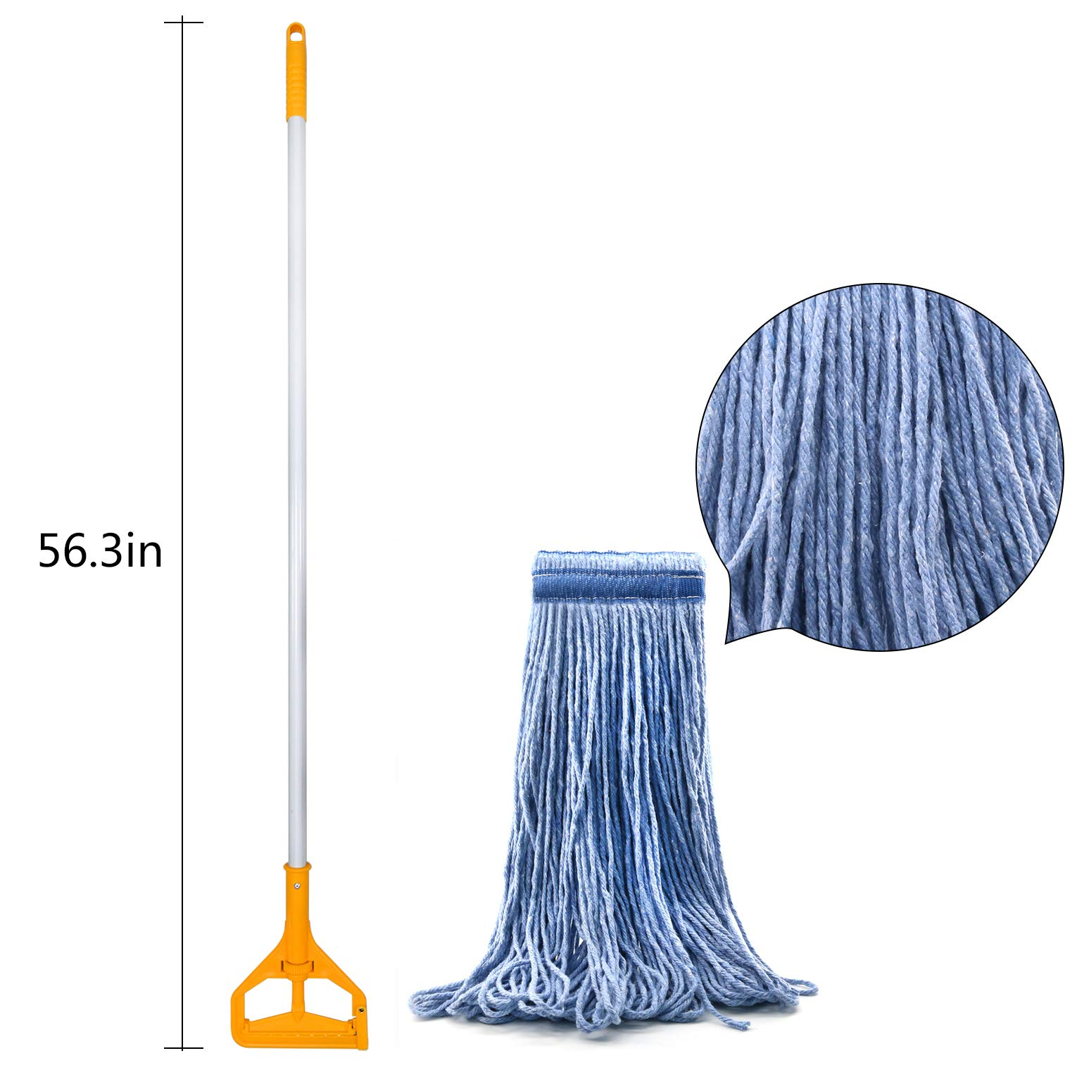 3 Pack Best Value 56-inch Quick Change Mop Handles Rust Free Aluminum Handle with 3 Loop-End Mop Heads for Home, Commercial and Industrial Use (56 inch) by Tidy Monster (Image #3)