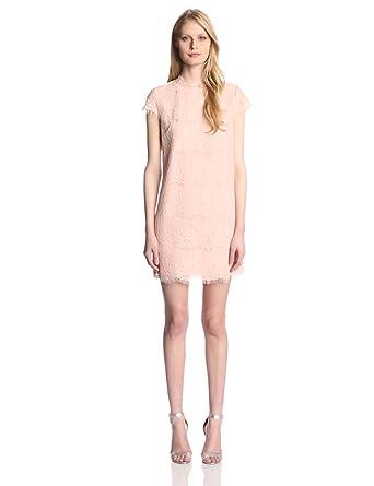 DV by Dolce Vita Women's Ares Short Sleeve Eyelash Lace Shift Dress, Blush, X-Small