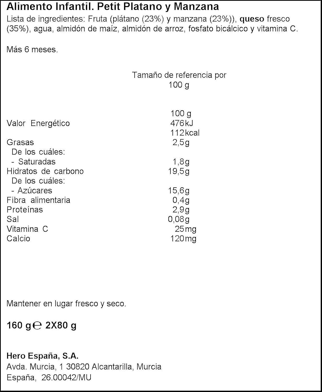 Hero Baby Plátano y Manzana - Paquete de 2 x 80 gr - Total: 160 gr - , Pack de 6: Amazon.es: Alimentación y bebidas