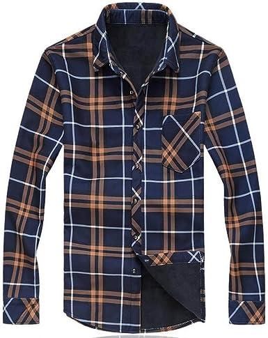 Camisa Caliente De Los Hombres Más Gruesa De Terciopelo Camisa A Cuadros De Manga Larga Floja: Amazon.es: Ropa y accesorios