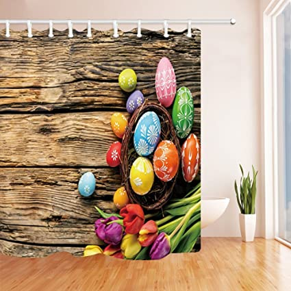 Amazon.com: GoEoo Happy Easter Shower Curtains for Bathroom Colorful ...