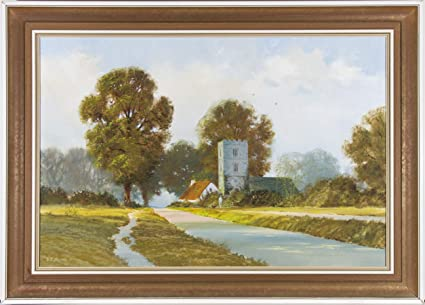 Amazon com: V R  Moore - Signed 20th Century Oil, Summer