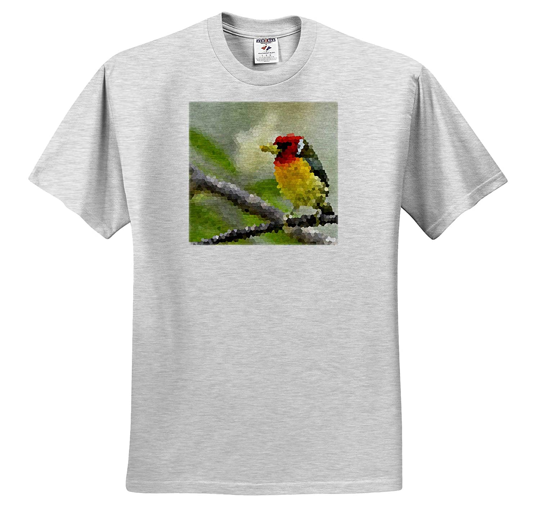 3dRose Kike Calvo Bird Watching and Ornithology Colorful Red-Headed Barbet Mosaic T-Shirts