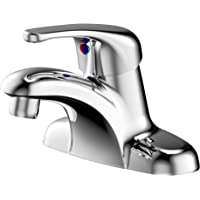 Enzo Rodi Full-metal Single-handle 4 inch Center-set Bathroom Sink Faucet without Drain Assembly, with 2pcs Waterline, Chrome, ERF1214255CP-10