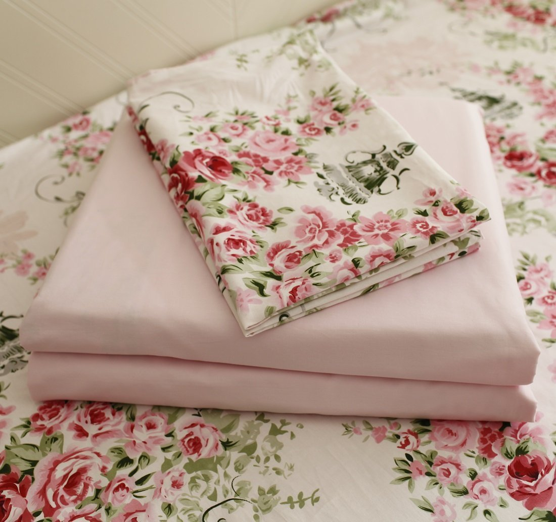 "FADFAY Rose Floral 4 Piece Bed Sheet Set 100% Cotton Deep Pocket-Queen - Queen size shabby rose print 4pc bed sheet set-1 ruffled flat sheet:98""x98"",1 fitted sheet:60""x80""+15.5''(W*L*H), 2 pillowcases 20""x29"".DEEP POCKET fitted sheet with elastic all around (not just the corners, like other sheets!) Material:100% COTTON, soft and comfortable. Machine washable and machine dryable. Reactive dyeing,do not fade. Fade-resistant, and durable. It's time to say goodbye for ever to the polyester bedding and sheets! just enjoy this 100% COTTON sheet set. It's a great gift idea for women friends, girls, Moms, Valentine's - Mother's - Day and Christmas. - sheet-sets, bedroom-sheets-comforters, bedroom - 71CVJOLcaPL -"