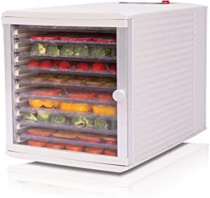 JAYETEC Professional Food Dehydrator, 10-Trays with Digital Thermostat and Timer, fruit, vegetables, meat, flowers, herbs, beef dryer,transparent front door & White,including 2 pcs non-stick sheets