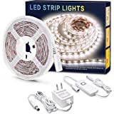 MYPLUS White Strips Light, Dimmable LED Vanity Mirror Lights Daylight White,700 Lumen,300 LEDs,12V Flexible Tape Light with Listed Safety Power Supply for Vanity Mirror,Bedroom,Kitchen and décor