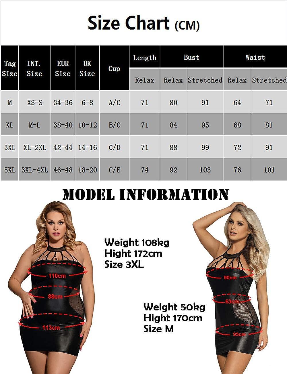 Women Faux Leather Lingerie Sleeveless Babydoll PVC Black Bodycon Club Nightwear Dress