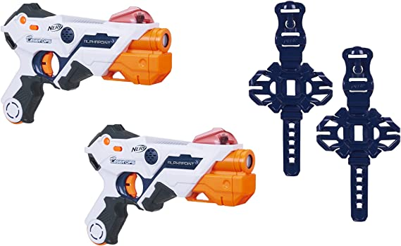 AlphaPoint Nerf Laser Ops Pro Toy Blasters - Includes 2 Blasters & 2 Armbands - Light & Sound FX - Health & Ammo Indicators - for Kids