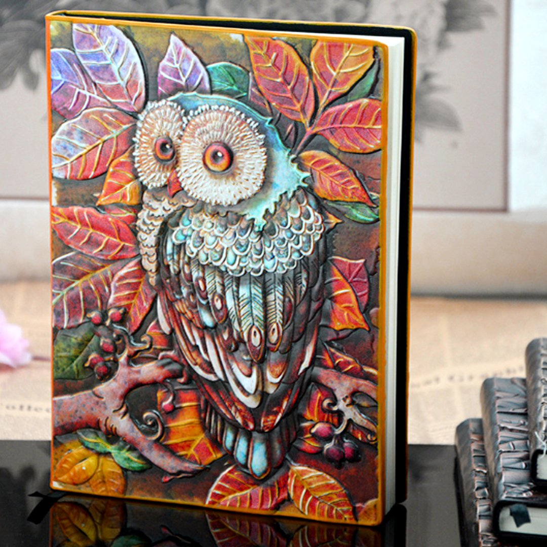 Mily Faux Leather Owl Embossed Vintage Antique Look Journal Notebook Diary Travel Book