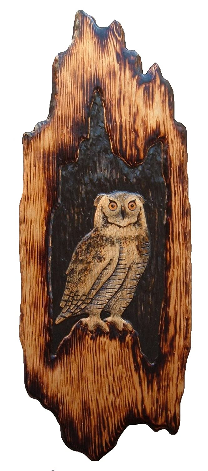 GREAT HORNED OWL、壁アート、チェーンソーCarving、ログキャビン装飾、Wood Carvingハリーポッター、チェーンソー、彫像、キャビン装飾 B0778YKNXS