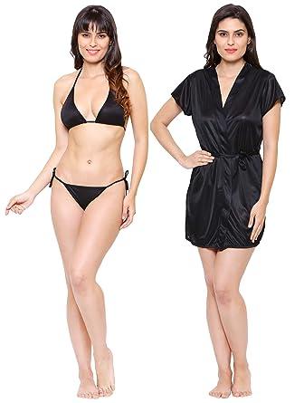 17bb4d68af Klamotten Women's Satin Bikini Nightwear Lingerie Set (Black, Free Size)