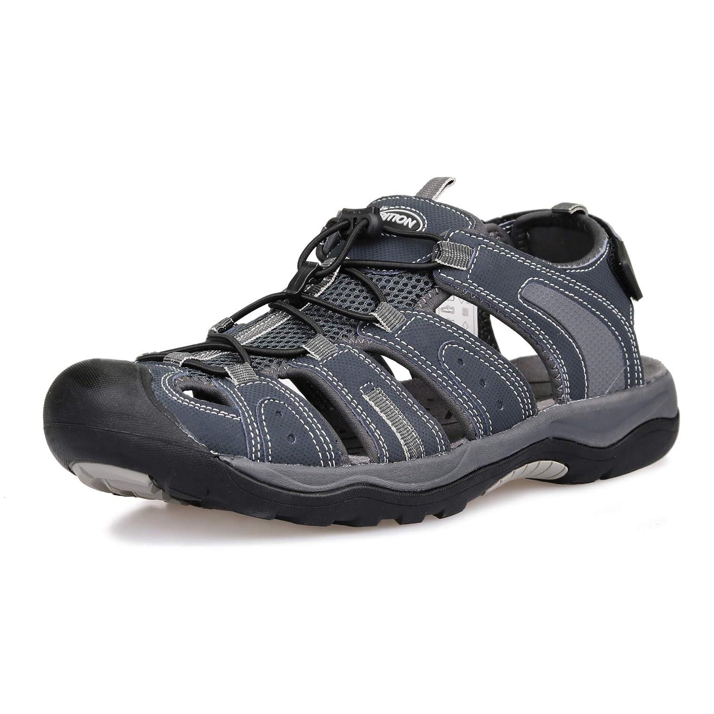 TALLA 40 EU. GRITION Hombres Sandalias de Senderismo Cerrado de Gancho y Lazo Malla y PU Correa Ajustable para Sandalias Deportivas Trekking, Zapatos para Caminar para la Playa de Verano