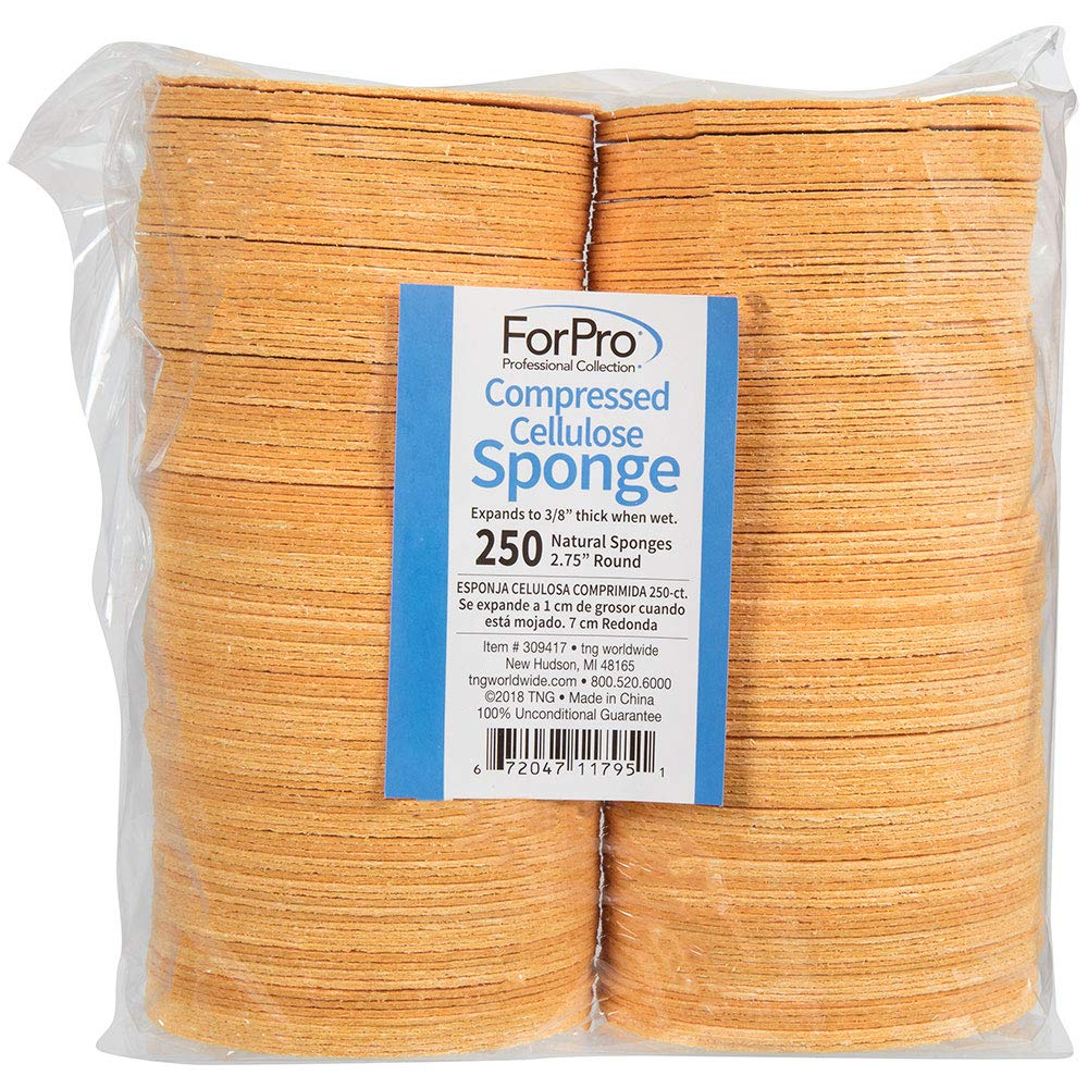 ForPro Compressed Cellulose Sponge, Round Face And Body Sponge, Natural Yellow, 2.75'', 250-Count