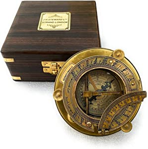 Antique Marine Nautical Decor Triangle Sundial Compass with Wooden Box, Brass Sun Dial Directional Magnetic for Navigation/Sundial Pocket Camping, Hiking, Touring