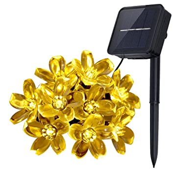 innoolight solar outdoor string lights 21 feet 50 led blossoms fairy lights for party wedding and