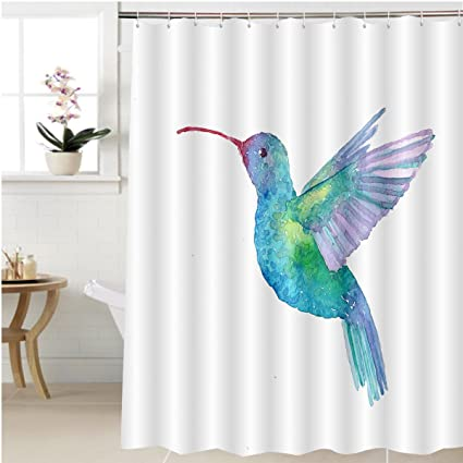 Gzhihine Shower Curtain Hummingbird Watercolor Illustration Bathroom  Accessories 48 X 72 Inches