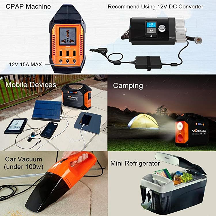 Webetop 155Wh 42000mAh Portable Generator Power Inverter Battery 100W Camping Emergency Home Use UPS Power Source Charged by Solar Panel
